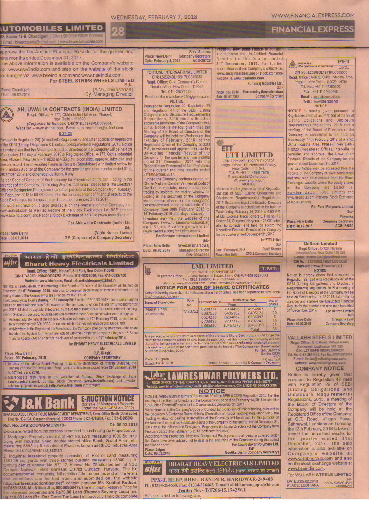 BM Intimation_14.02.2018_English newspaper